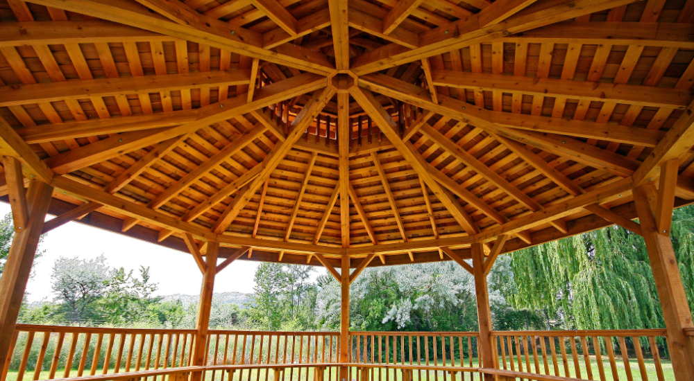 Cedar Gazebo made from timber cut on a Woodmizer sawmill