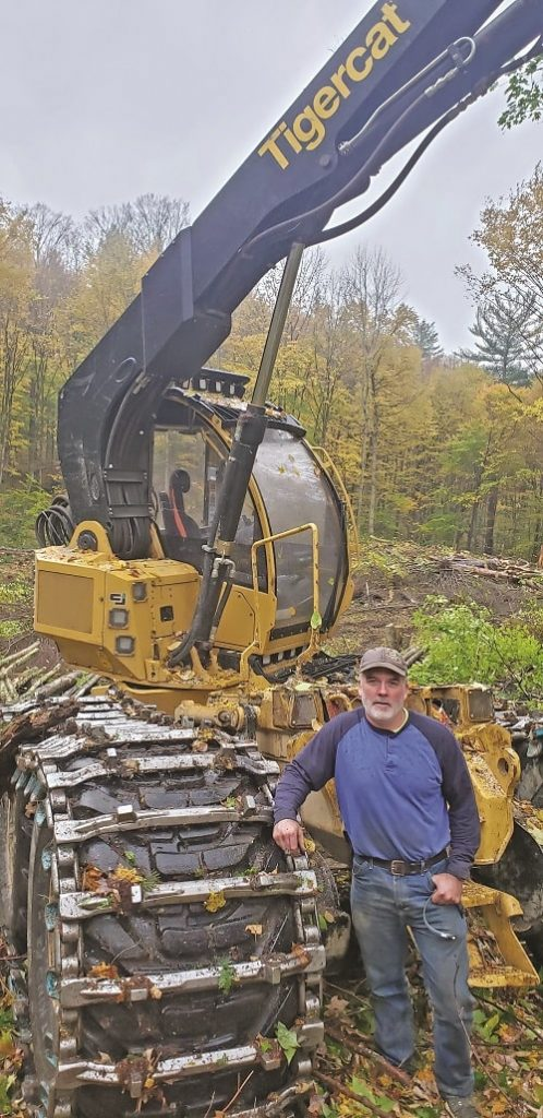 Matt Edwards with his Tigercat 1185 Harvester